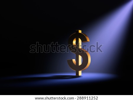 A gold dollar sign on a black background is dramatically lit from behind and above by a pale purple spotlight.