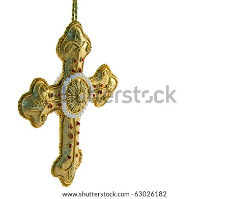 A Gold Embroidered Crucifix - stock photo