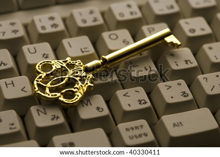 A gold key on the PC keyboard.