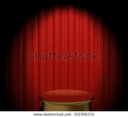 A gold pedestal in front of a red velvet curtain with spotlight - stock photo