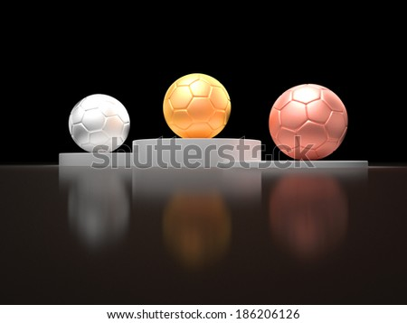 A gold silver and bronze soccer ball on a victory podium for the first second and third winner of a championship - stock photo
