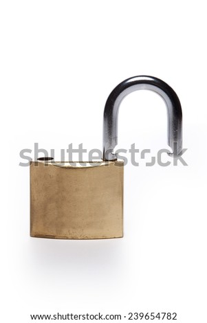 A gold(yellow) padlock(combination lock, bicycle lock) unlocked isolated white at the studio.  - stock photo
