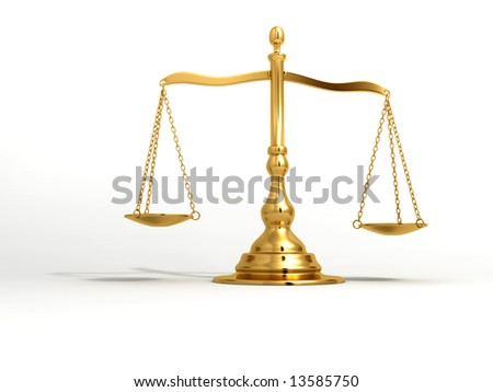 A golden brass scale on white background - 3d render