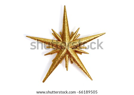 a golden christmas star on a white background - stock photo