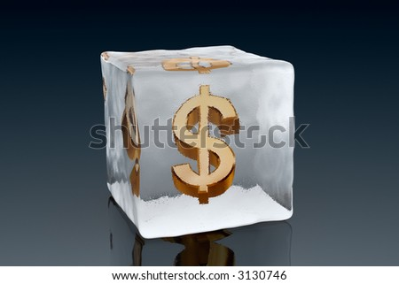 A golden Dollar symbol frozen inside an ice cube (3D rendering) - stock photo