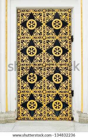 A golden door detail of the orthodox church in the Kiev Pechersk Lavra, Ukraine - stock photo