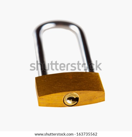 A golden lock over white background - stock photo