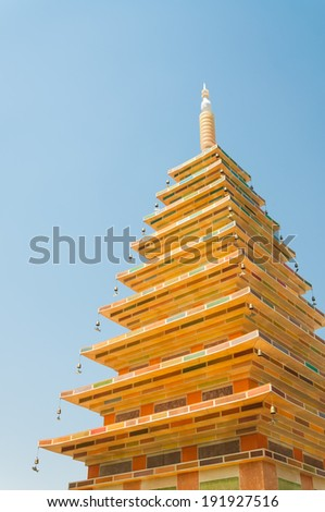 A golden pavilion is erected outside Gyeongbokgung Palace in Seoul, South Korea, ahead of celebrations for Buddha's Birthday. - stock photo