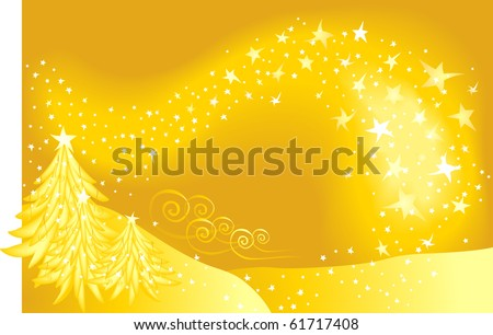 A golden snow-covered landscape with light-filled sky and trees - stock photo