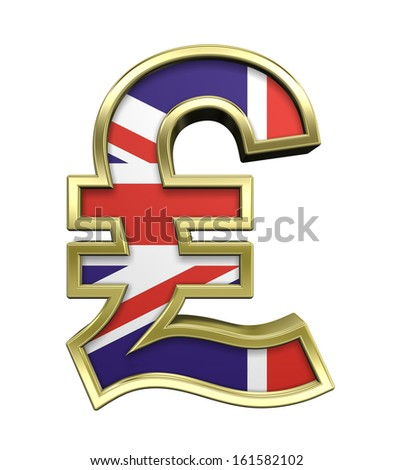 A golden Sterling Pound symbol with flag isolated over white. 3D photo rendering. - stock photo