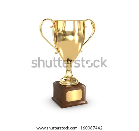 a golden trophy cup with insignia plate. - stock photo