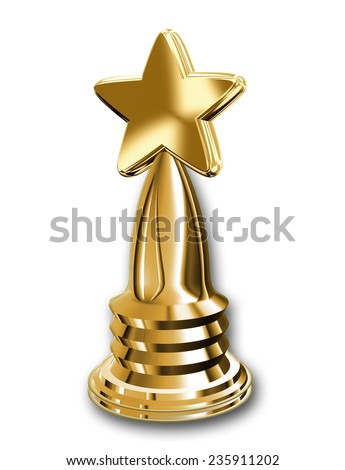 A golden winner's trophy with star design isolated on white - stock photo