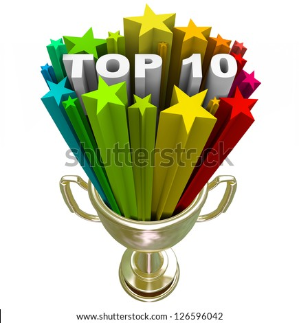 A golden with the words Top 10 in a burst of colorful stars, illustrating the ten choices that have reached the highest pinnacle of success singled out as finalists or best picks - stock photo