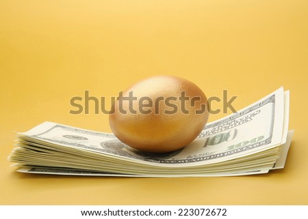 A goled egg on a pile of dollars - stock photo
