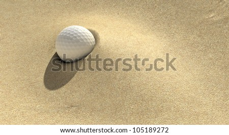 A golf ball plugged deep in a sand trap - stock photo