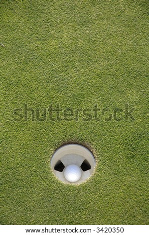 a golf ball sits in the cup with green around