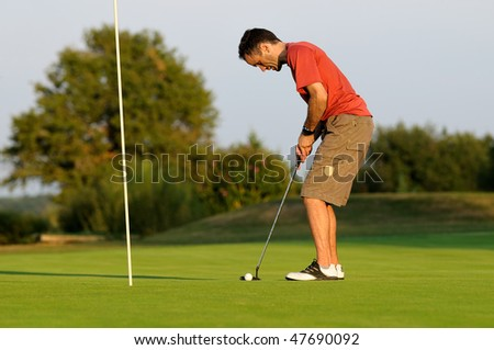 a golfer concentration - stock photo
