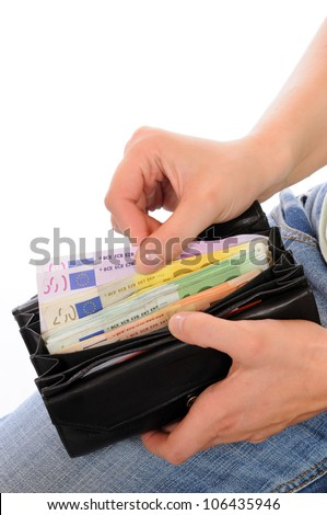 A good filled wallet in the hands
