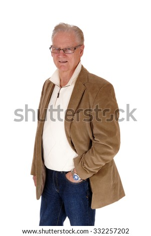 A good looking middle age man standing in jeans and a brown jacket isolated for white background.  - stock photo