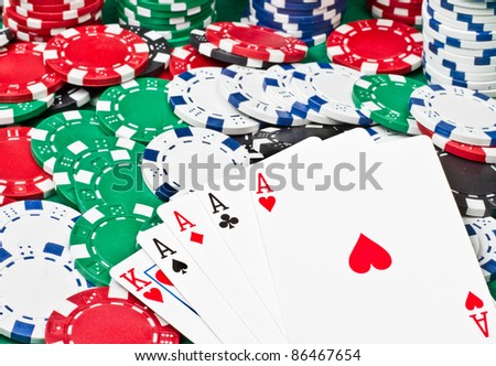 A good poker hand with 4 aces