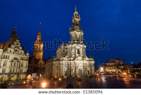A gorgeous night image of a famous cathedral in Dresden, Germany - stock photo