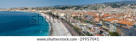 A gorgeous panorama of the city of Nice on the French Riviera - stock photo