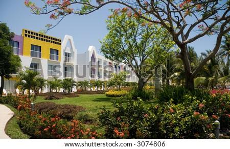 A gorgeous tropical garden from a resort in El Salvador - stock photo