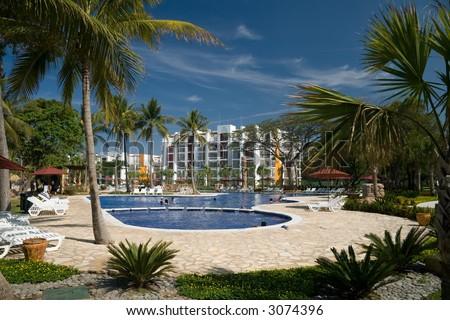 A gorgeous tropical resort in El Salvador - stock photo