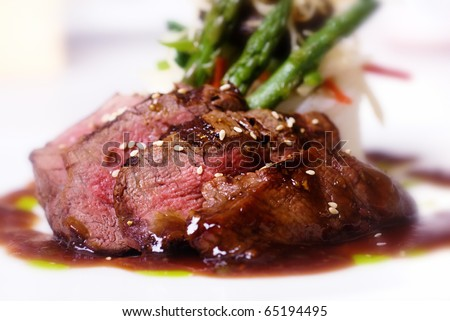 A gourmet fillet mignon steak at five star restaurant. - stock photo