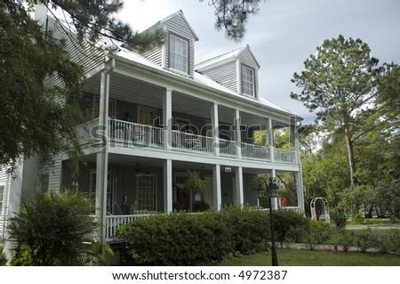 A gracious Southern home. - stock photo