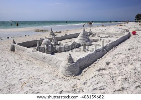 A grand sand castle on the beach at Siesta Key Florida outside of Sarasota. - stock photo