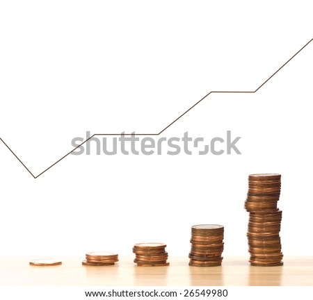 A graph that is continually climbing showing the profits of a company, isolated against a white background