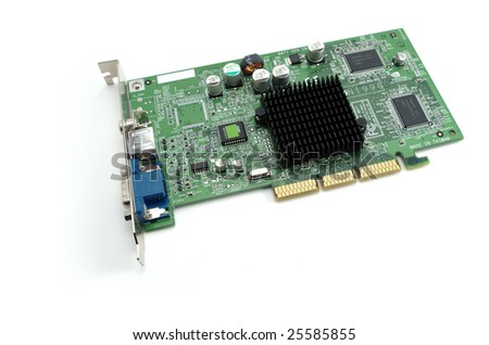 A graphic card with agp bus system on white background