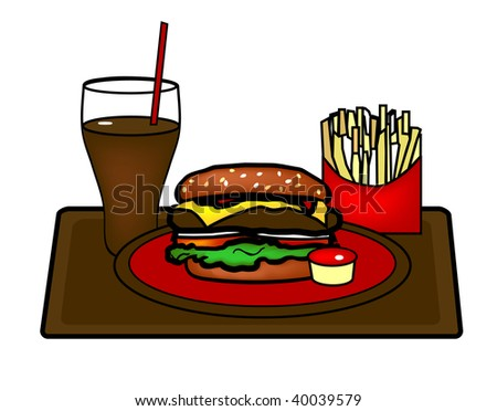 A graphic illustration of a Hamburger Platter with French Fries and a Soda.
