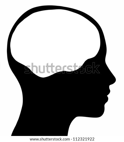 A graphic of a female head silhouette with a white brain area. Isolated on a solid white background. - stock photo