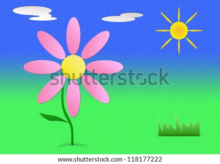 a graphic of flower in sunny day