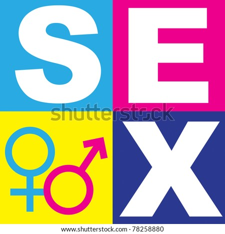 A graphic representation of sex, love and relationships between man and women in the context of sex education. Using text, graphics and alchemical symbols on bright colored blocks of color. - stock photo