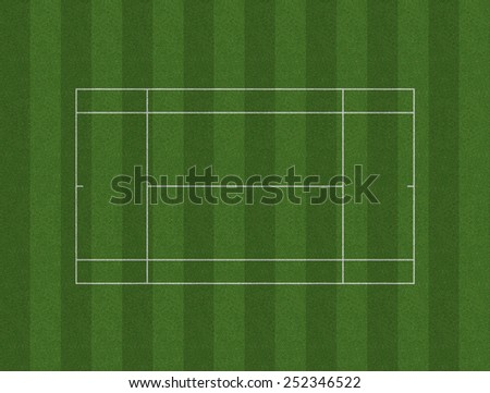 A grass tennis court layout marked in white