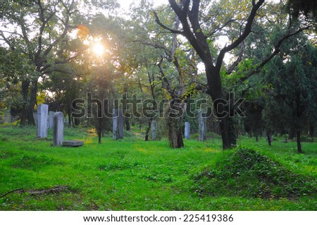 A graveyard cemetery for Confucius in the city of Qufu in Shandong Province of China late afternoon.