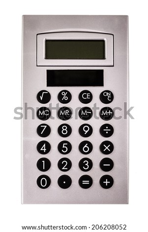 a gray calculator isolated over a white background - stock photo