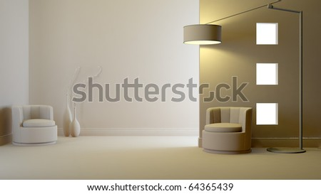 a gray 3d interior composition - stock photo