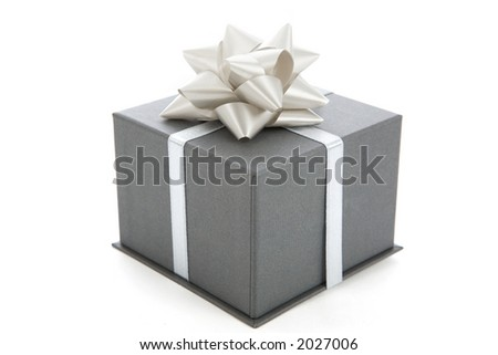 a gray gift with a  bow on white - stock photo