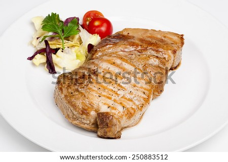 A great beef steak with vegetables - stock photo