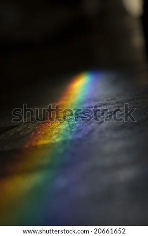 a great rainbow over the floor - stock photo