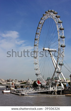 A great shot of the London Eye - stock photo