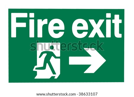 A green and white warning sign showing a fire exit