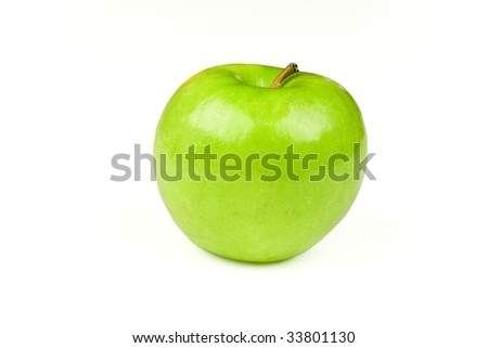 A green apple, isolated on a white background - stock photo
