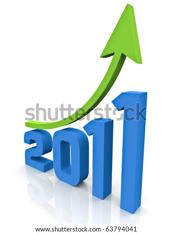 A green arrow moving upwards over the 3D rendering of the year 2011 on a white reflective background - stock photo
