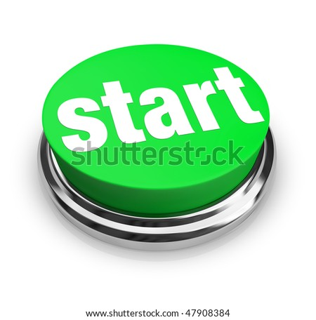 A green button with the word Start on it - stock photo