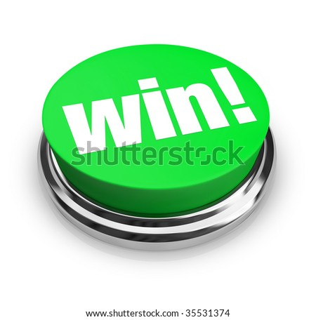 A green button with the word Win on it - stock photo